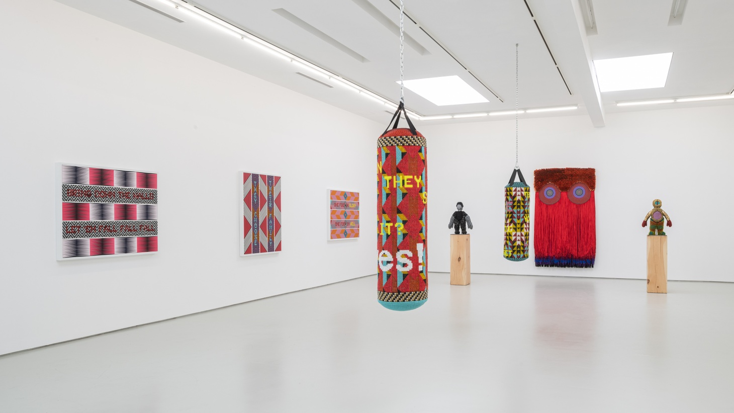 """Jeffrey Gibson, """"It Can Be Said of Them,"""" Installation View. Image courtesy of the artist and Roberts Projects, Los Angeles, California."""