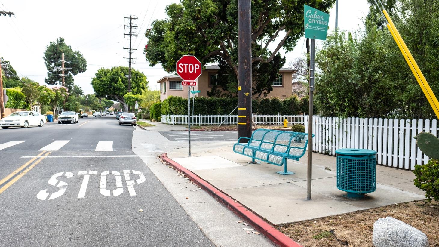 A bus stop in Culver City, June 24, 2019.