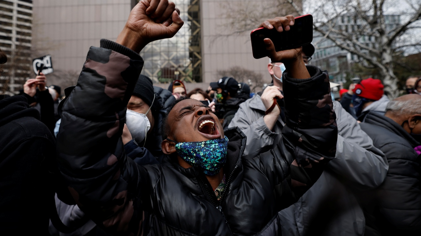 A person reacts after the verdict in the trial of former Minneapolis police officer Derek Chauvin, in the death of George Floyd, in front of Hennepin County Government Center, in Minneapolis, Minnesota, U.S., April 20, 2021.