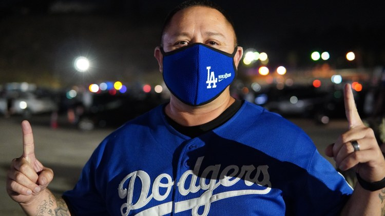 Celebrating the Dodgers' World Series win