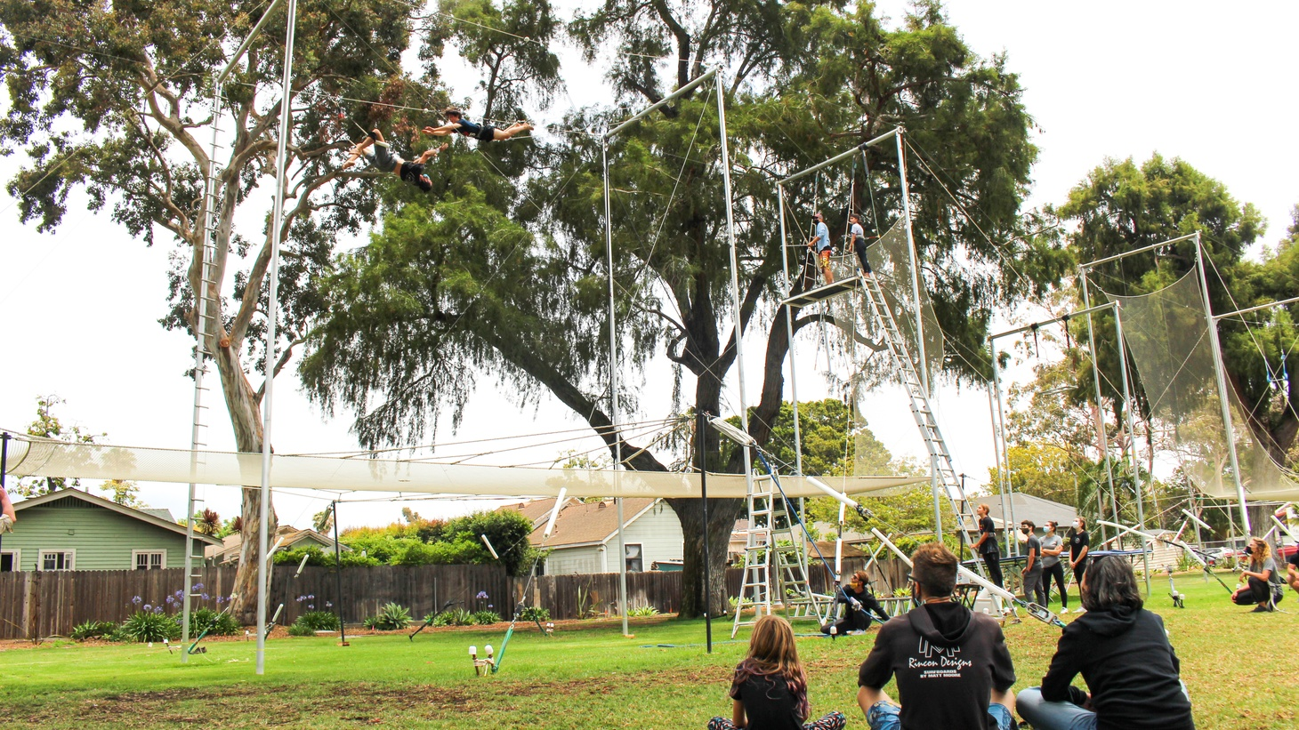 Two trapeze sets in Plaza Vera Cruz, a public park in Santa Barbara, are the latest examples of a thriving aerial arts community.