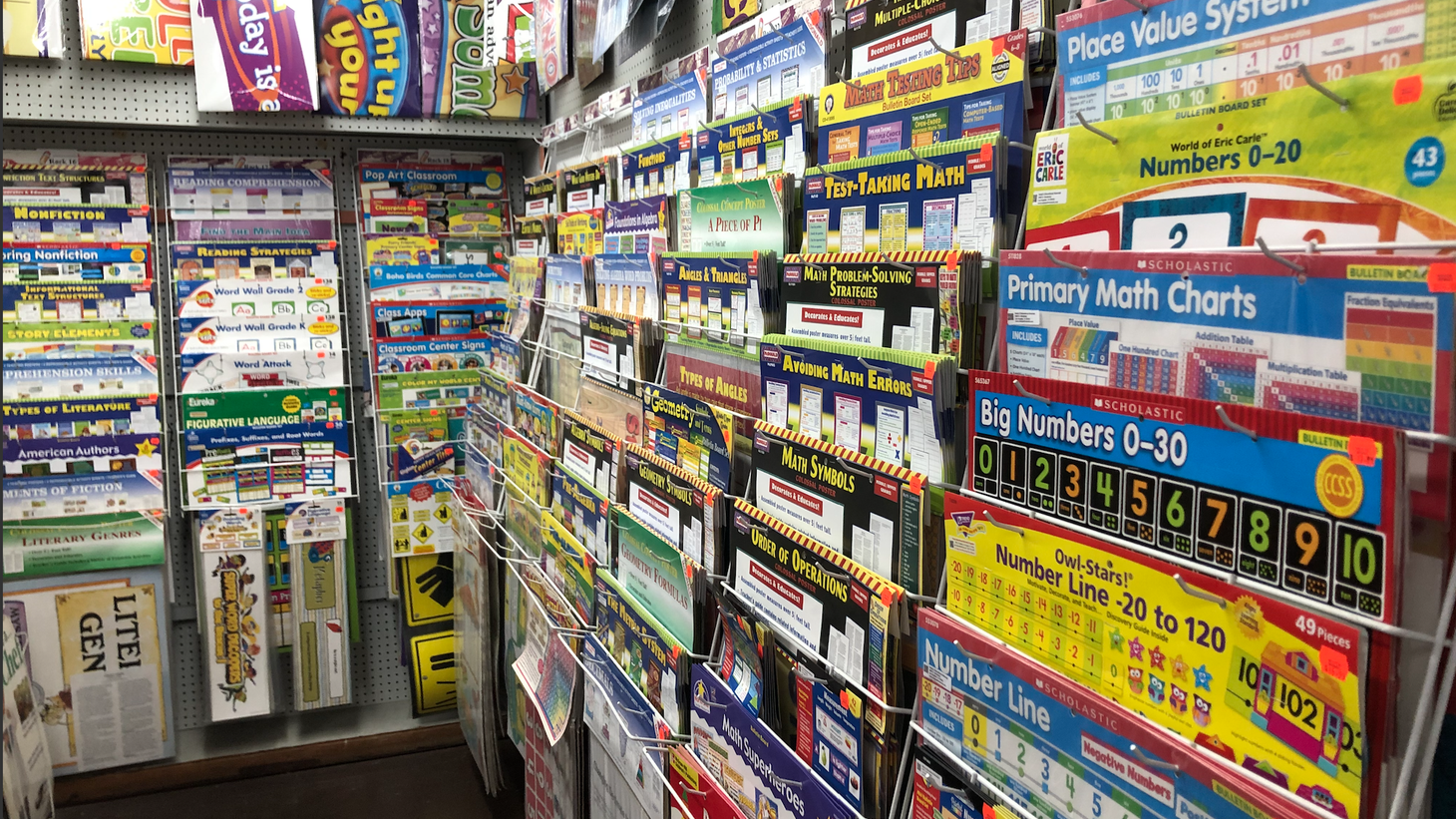 The posters and other classroom visual aids at Neely's Educational Supplies aren't selling well during the pandemic.