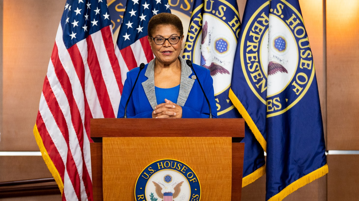 U.S. Representative Karen Bass (D-CA) speaking at a press conference about H.R.7573, proposed legislation to remove all statues of individuals who voluntarily served the Confederate states of America from display in the United States Capitol. July 22, 2020.