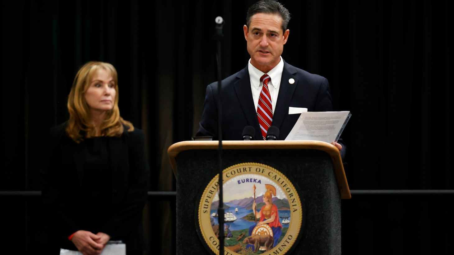 Orange County District Attorney Todd Spitzer speaks during a hearing against former police officer Joseph James DeAngelo Jr. on crimes attributed to the Golden State Killer, at the Sacramento County courtroom, in Sacramento, California, U.S., June 29, 2020.