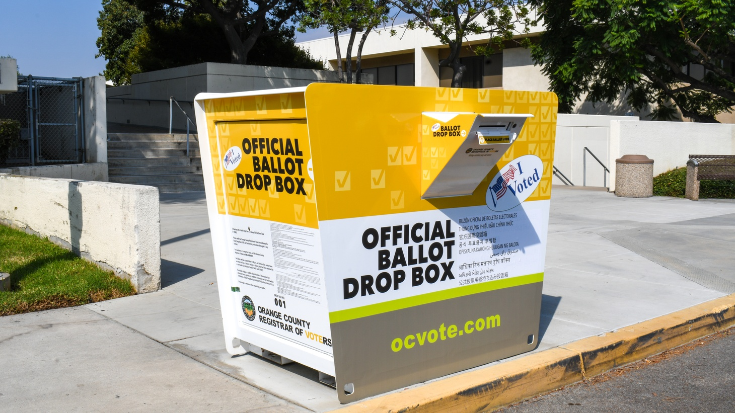 A ballot drop box at the Orange County Registrar of Voters in Santa Ana. October 5, 2020.
