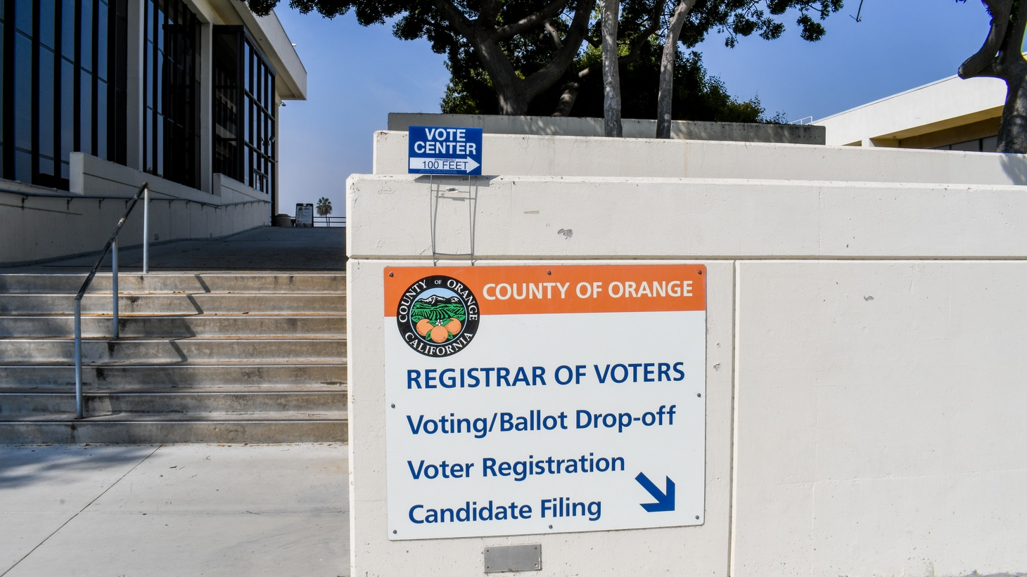 At the Orange County Registrar of Voters in Santa Ana, residents can cast and drop off their ballots and register to vote. October 5, 2020.