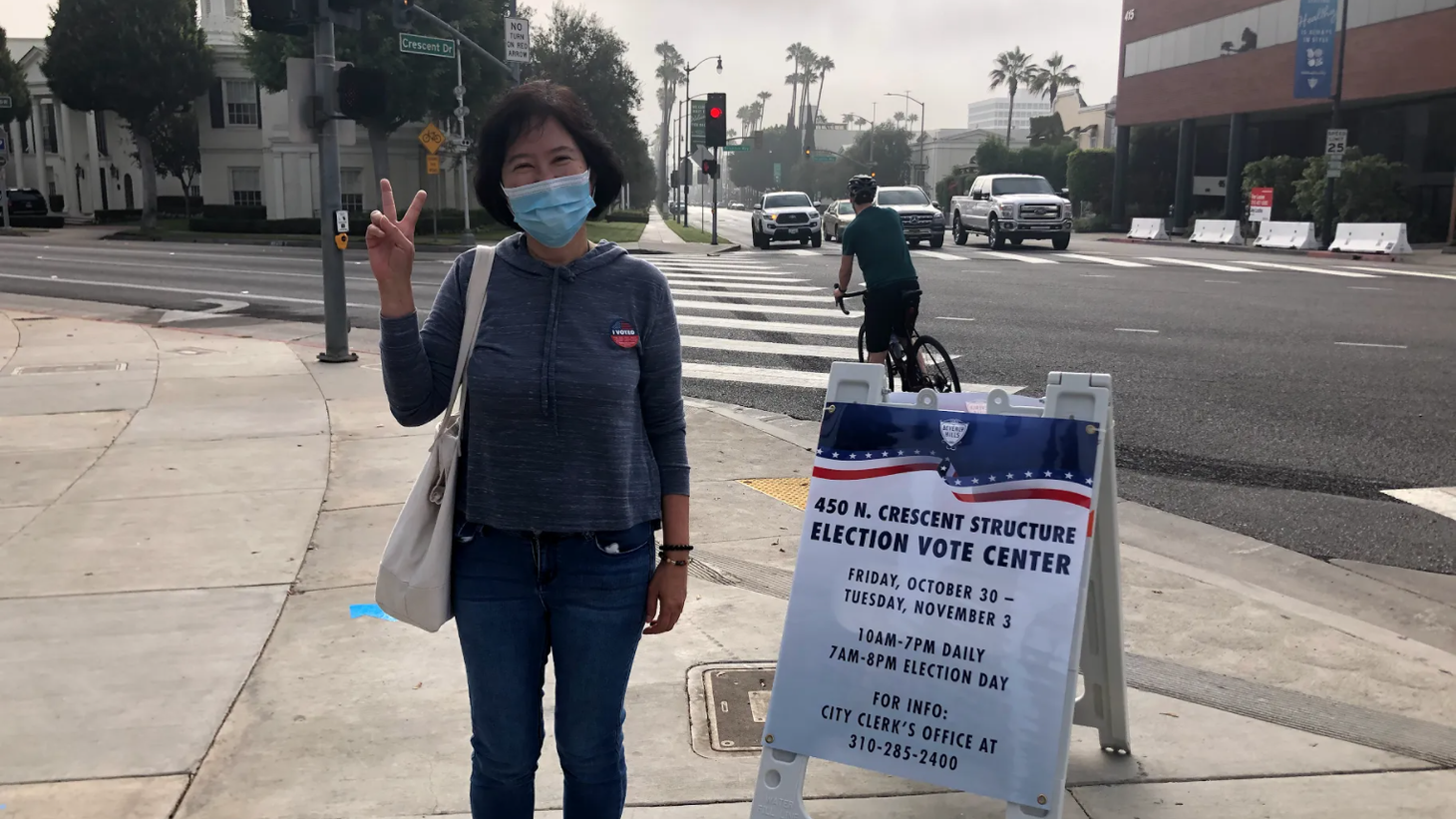 Helen Tang voted at Beverly Hills City Hall. She says she voted in person because she only trusted herself to make sure her ballot counted. This is her first time using the new voting booths. She said the process was very smooth and there was no line.
