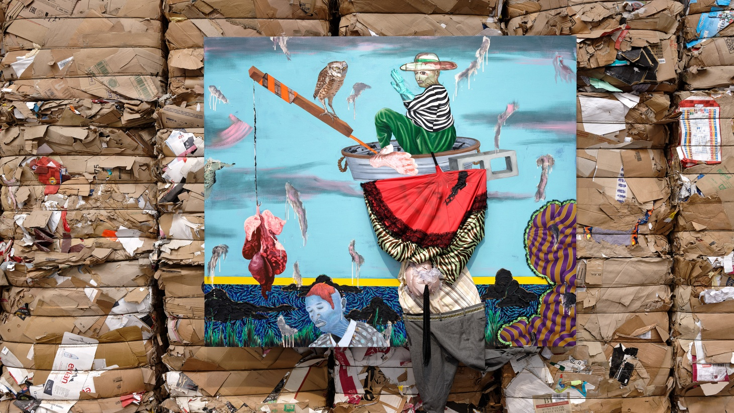 """Simphiwe Ndzube, """"In the Land of the Blind the One Eyed Man is King?"""" (2019) in """"Where Water Comes Together With Other Water,"""" The 15th Lyon Biennale, Lyon, France, Installation View."""