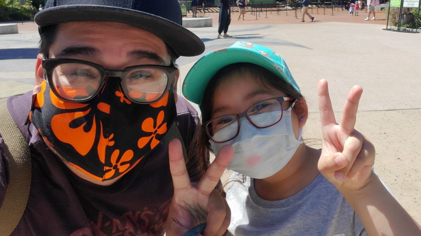 Joel Rodriguez and his daughter, Brooklyn Garcia, drove from Ridgecrest to San Diego to go to the zoo. Rodriquez got vaccinated in February, and this was their first road trip since the pandemic began.