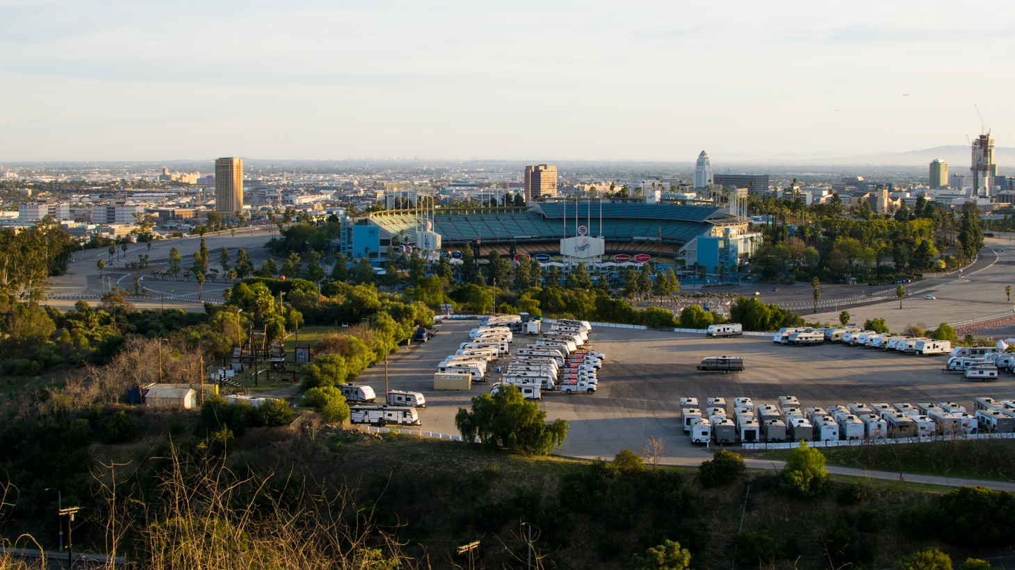 Dodger Stadium's COVID-19 vaccination site on the second day of its closure due to dose shortages, February 14, 2021. The site is expected to reopen on February 16, 2021.