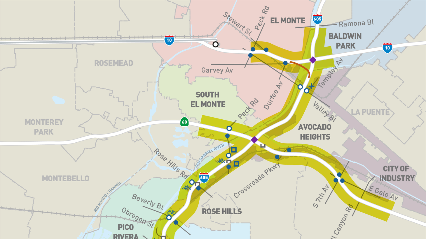A map of proposed expansions on I-605 and I-5.
