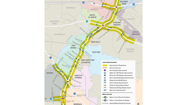 The 605 Corridor Improvement Project aims to add new lanes and exit ramps along the 605 freeway and a stretch of the 5 freeway in southeastern LA County.
