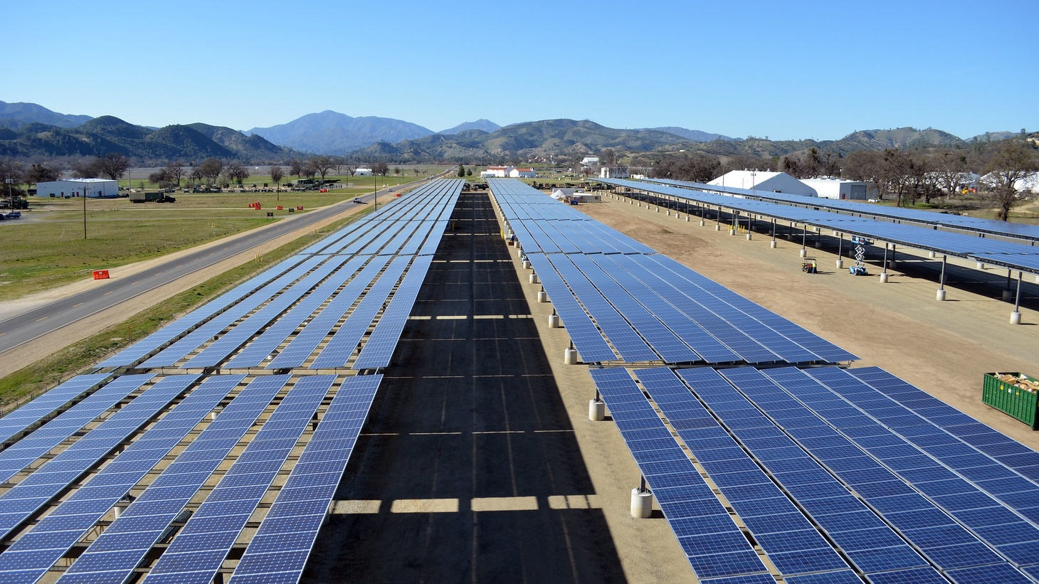 Solar panel arrays form a canopy at a construction site in Fort Hunter Liggett, Calif., March 12, 2013.
