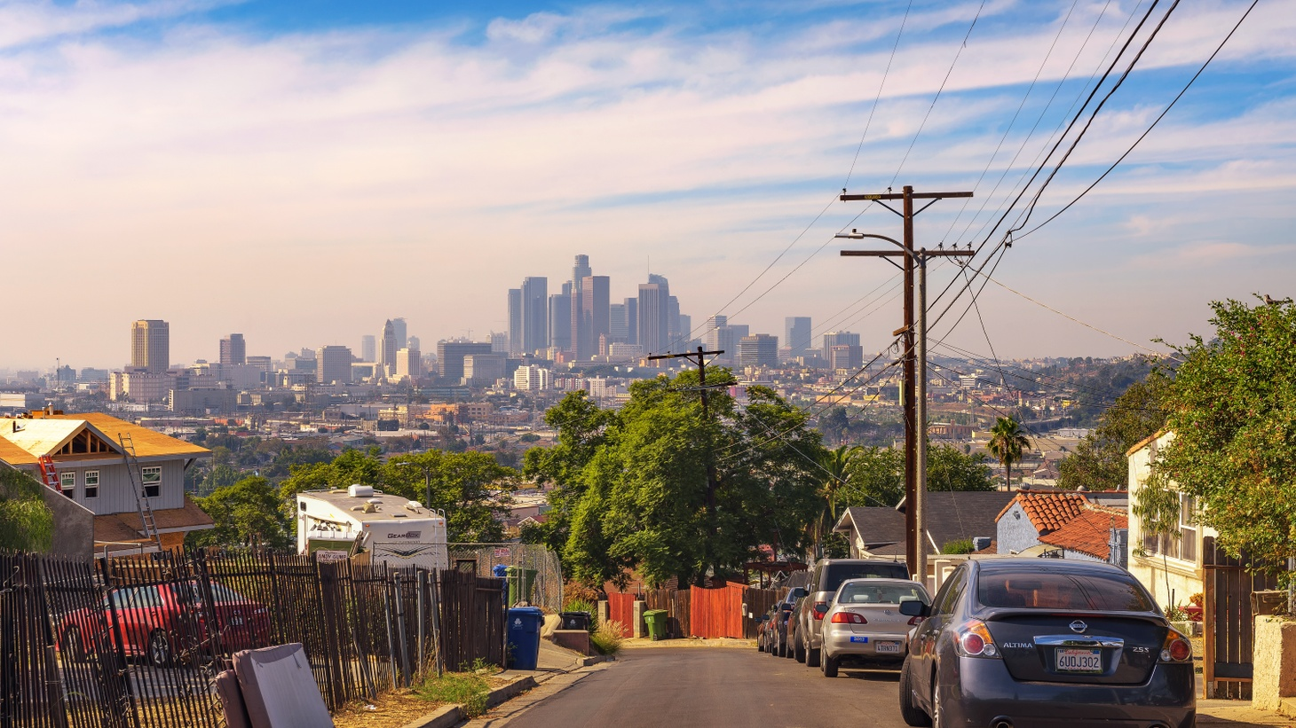 A view of the Los Angeles skyline from Lincoln Heights, where a group of local activists joined their neighborhood council to try to prevent gentrification.