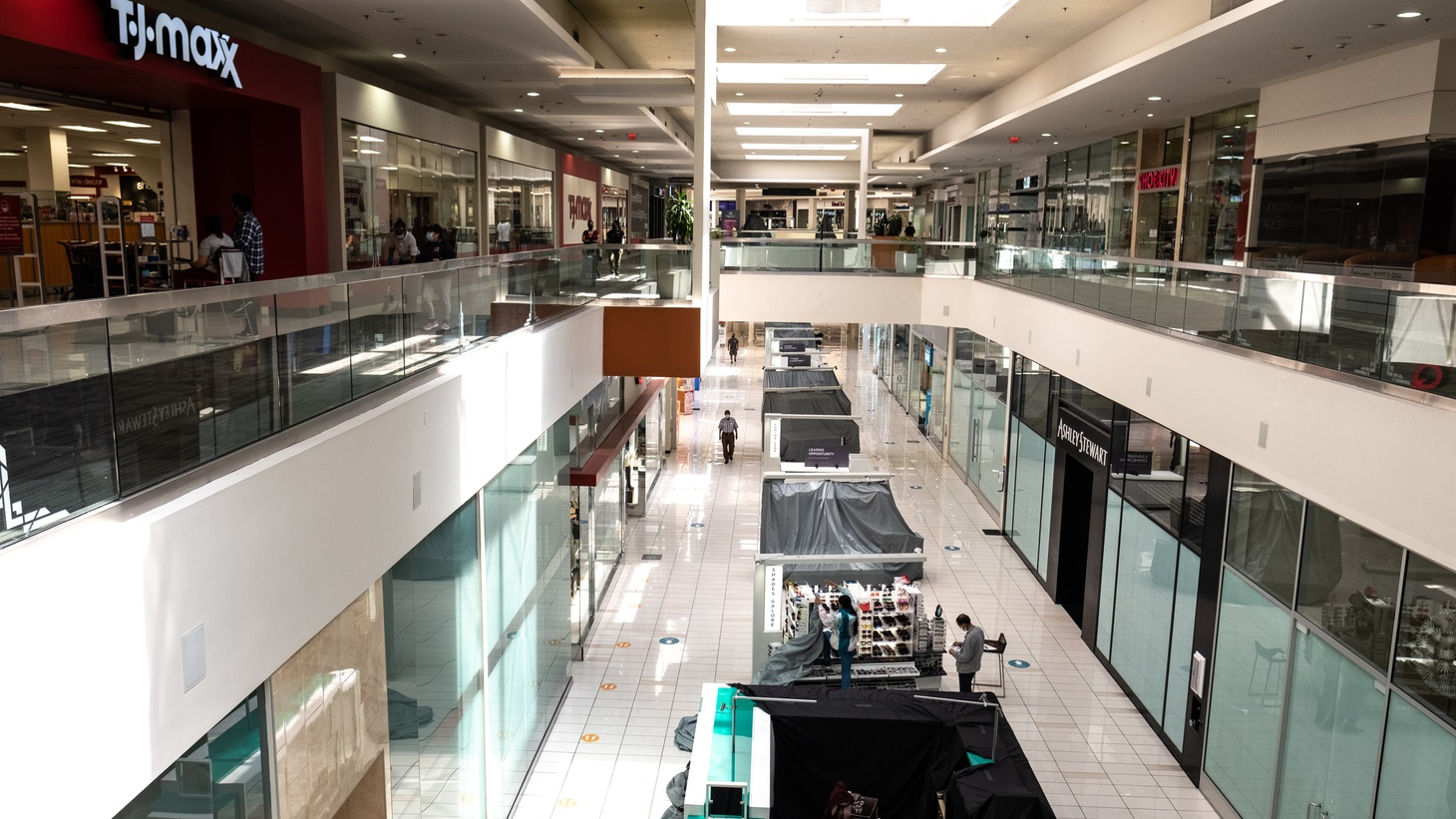 The Baldwin Hills Crenshaw Mall has no traffic these days, and many businesses there are struggling. May 3, 2021.