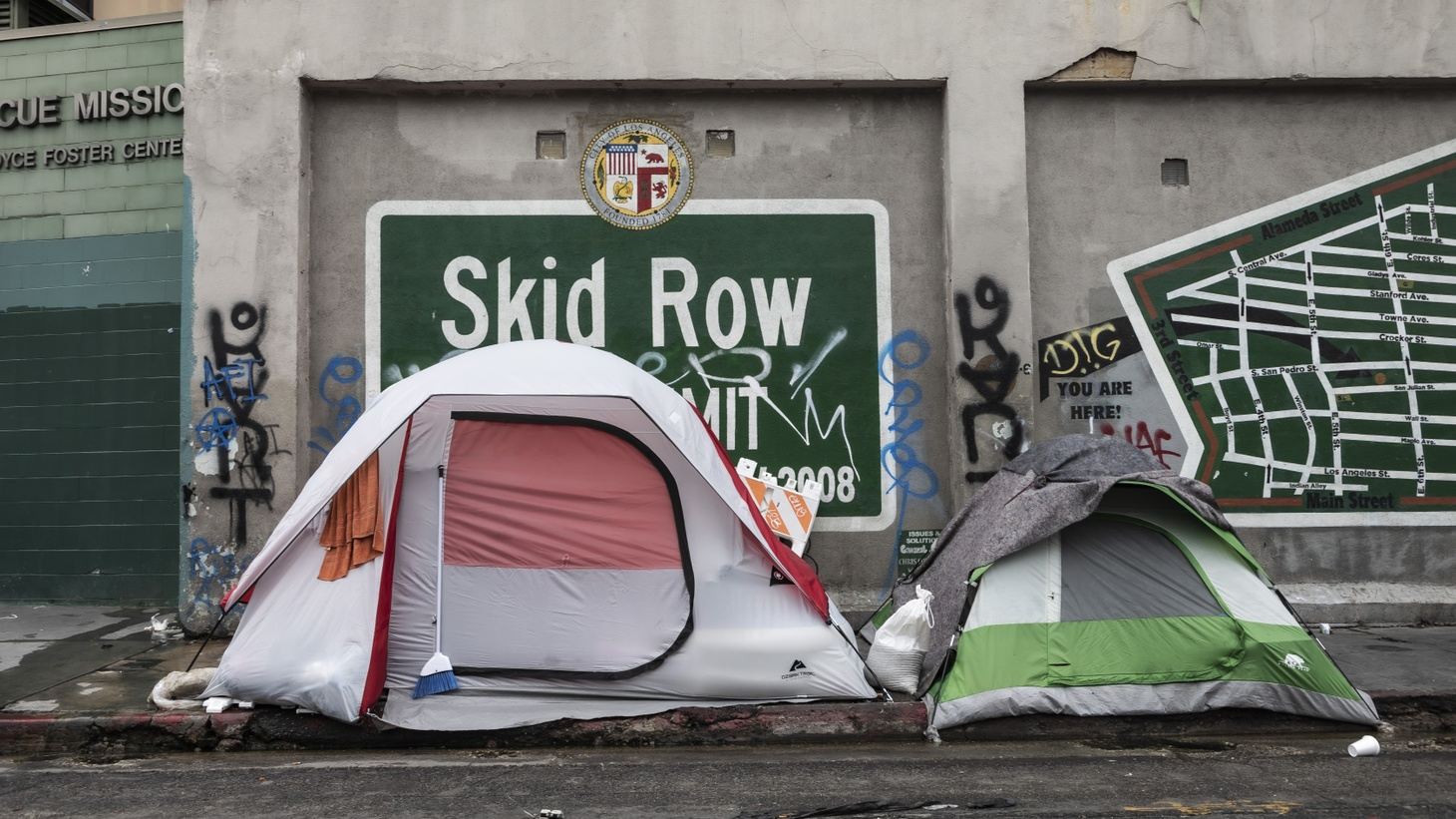 Skid Row in downtown Los Angeles has the city's largest population of unhoused people, April 6, 2020.