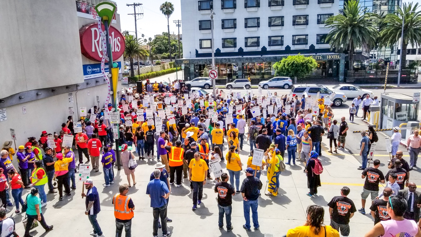 Grocery store workers rally outside a Ralphs in Koreatown, July 9, 2019.