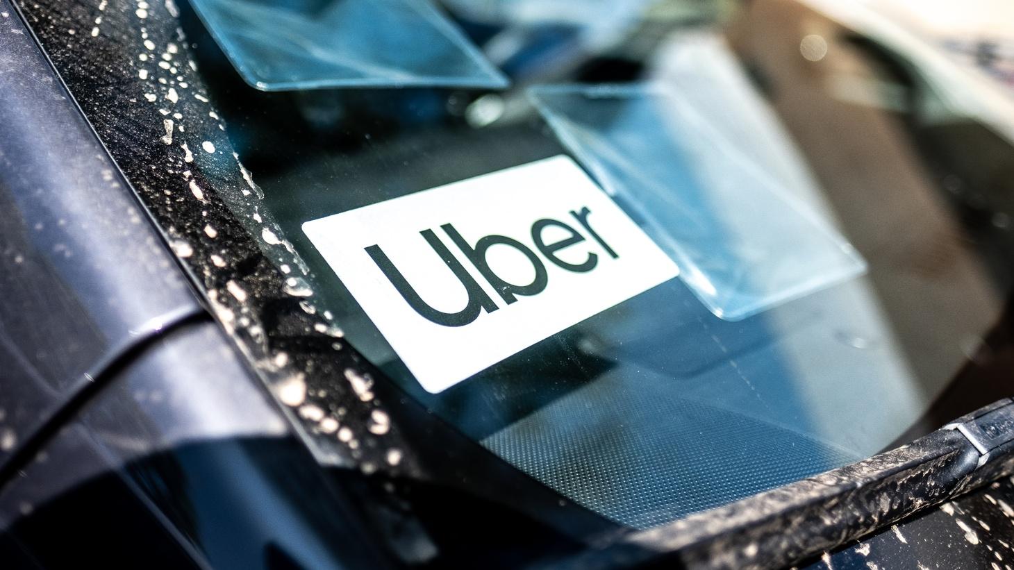 Uber sticker on a car windshield, Culver City, June 28, 2019.