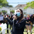 High school students protest and clean up