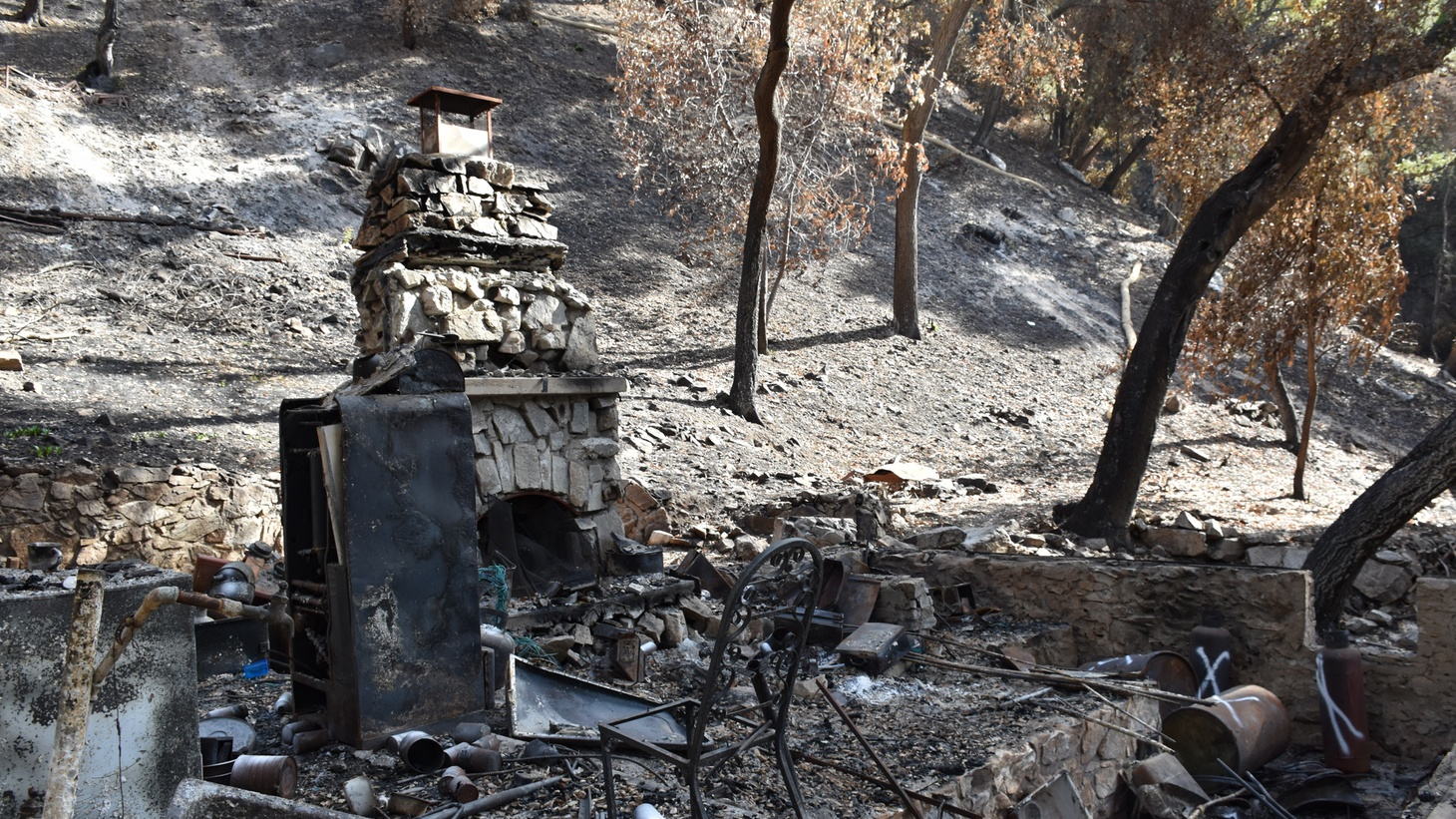 The Bobcat Fire destroyed 17 of the 81 historic cabins in Big Santa Anita Canyon, including this one.