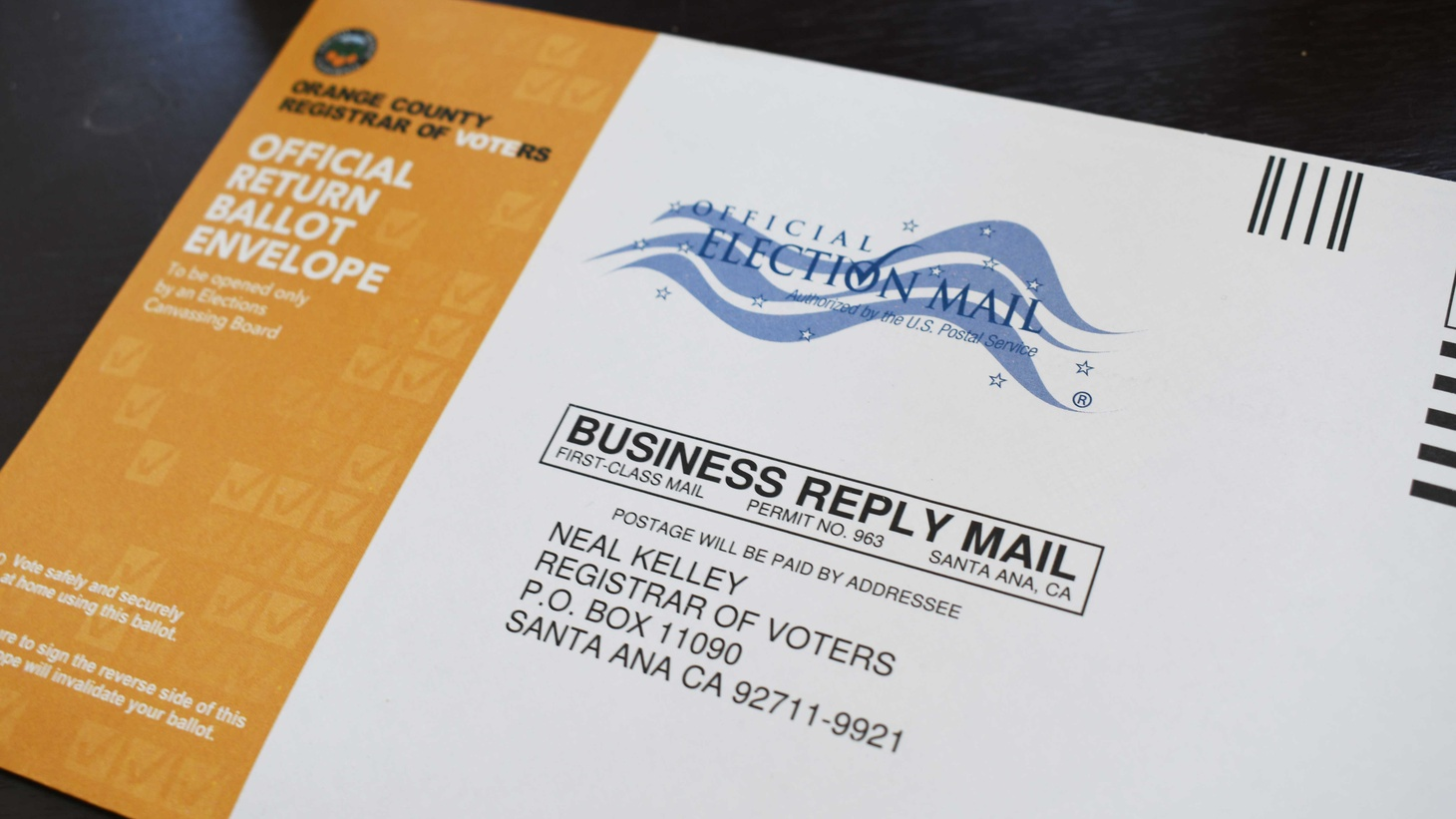 An official Orange County mail-in ballot for the 2020 election.