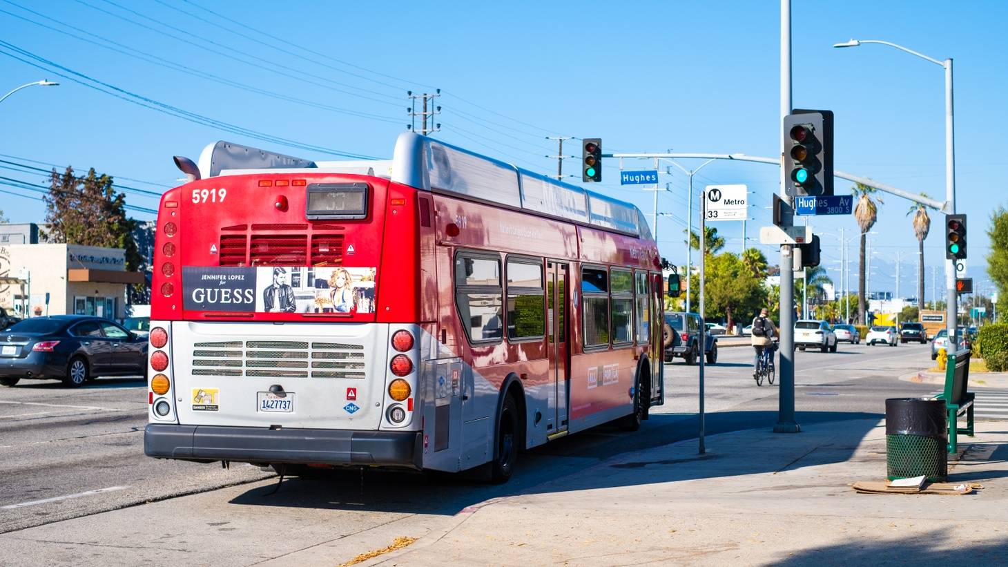 A Los Angeles Metro bus in Culver City, July 28, 2020. Metro is considering making rides free next year.
