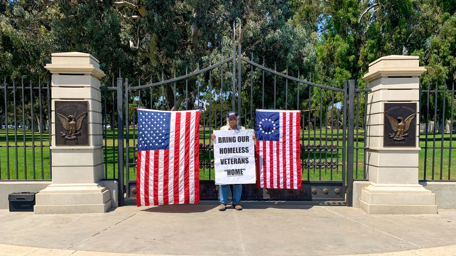 "Bob Rosebrock, an Army veteran, outside the West LA VA campus in Brentwood, protesting commercial uses on the property. He was instrumental in creating ""Veterans Row"" on San Vicente Boulevard."