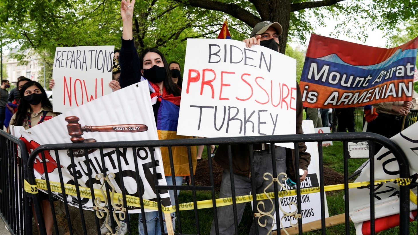 Members of the Armenian diaspora rally in front of the Turkish Ambassador's residence after U.S. President Joe Biden recognized that the 1915 massacres of Armenians in the Ottoman Empire constituted genocide in Washington, U.S., April 24, 2021.