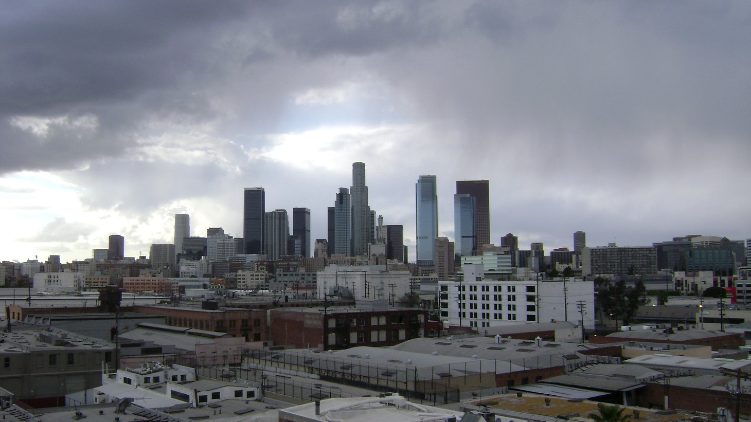 Los Angeles skyline in the rain.