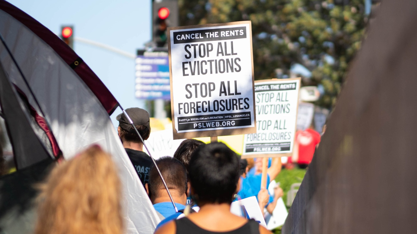 Tenants and organizers demonstrate outside Stanley Mosk Courthouse in downtown Los Angeles early September, calling for a ban on evictions and the cancellation of rent ahead of a looming eviction crisis caused by the COVID-19 pandemic.
