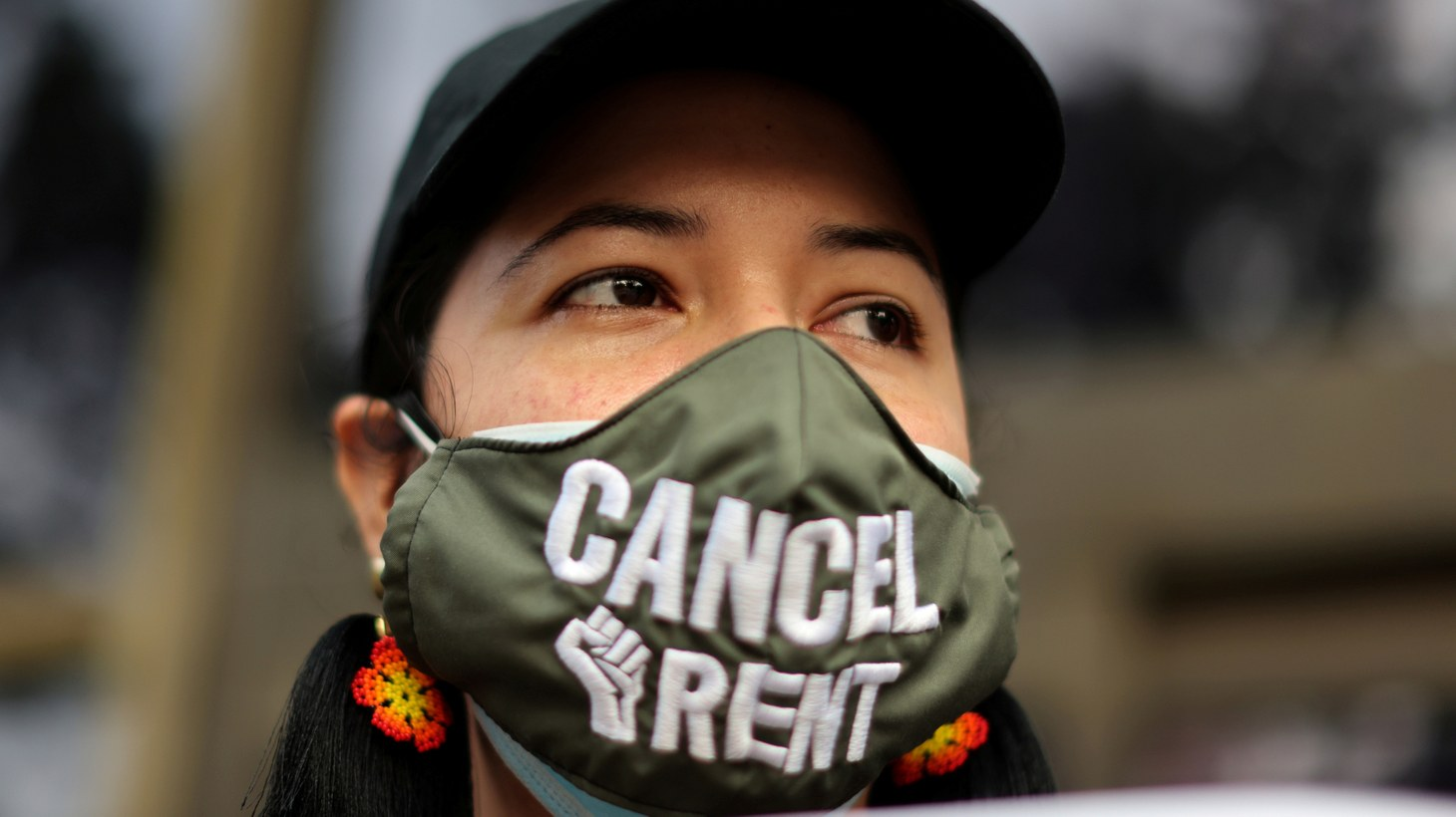 Jennifer Maldonado joins demonstrators at a protest against an upcoming wave of evictions that shutdown the LA Superior Court, amid the global outbreak of coronavirus disease (COVID-19), in Los Angeles, California, U.S., August 21, 2020.