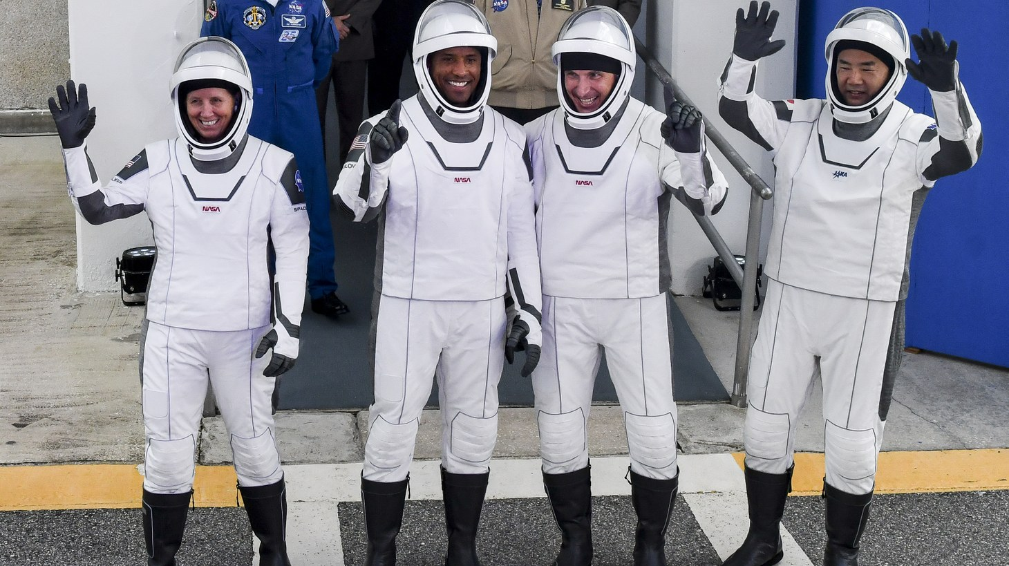 SpaceX Crew-1 astronauts Shannon Walker, Victor Glover, Michael Hopkins and Soichi Noguchi wave to the crowd before heading to the launch pad Sunday, November 15, 2020. The four rode a Falcon 9 rocket to the International Space Station. Nov 15, 2020, Cape Canaveral, FL, USA.