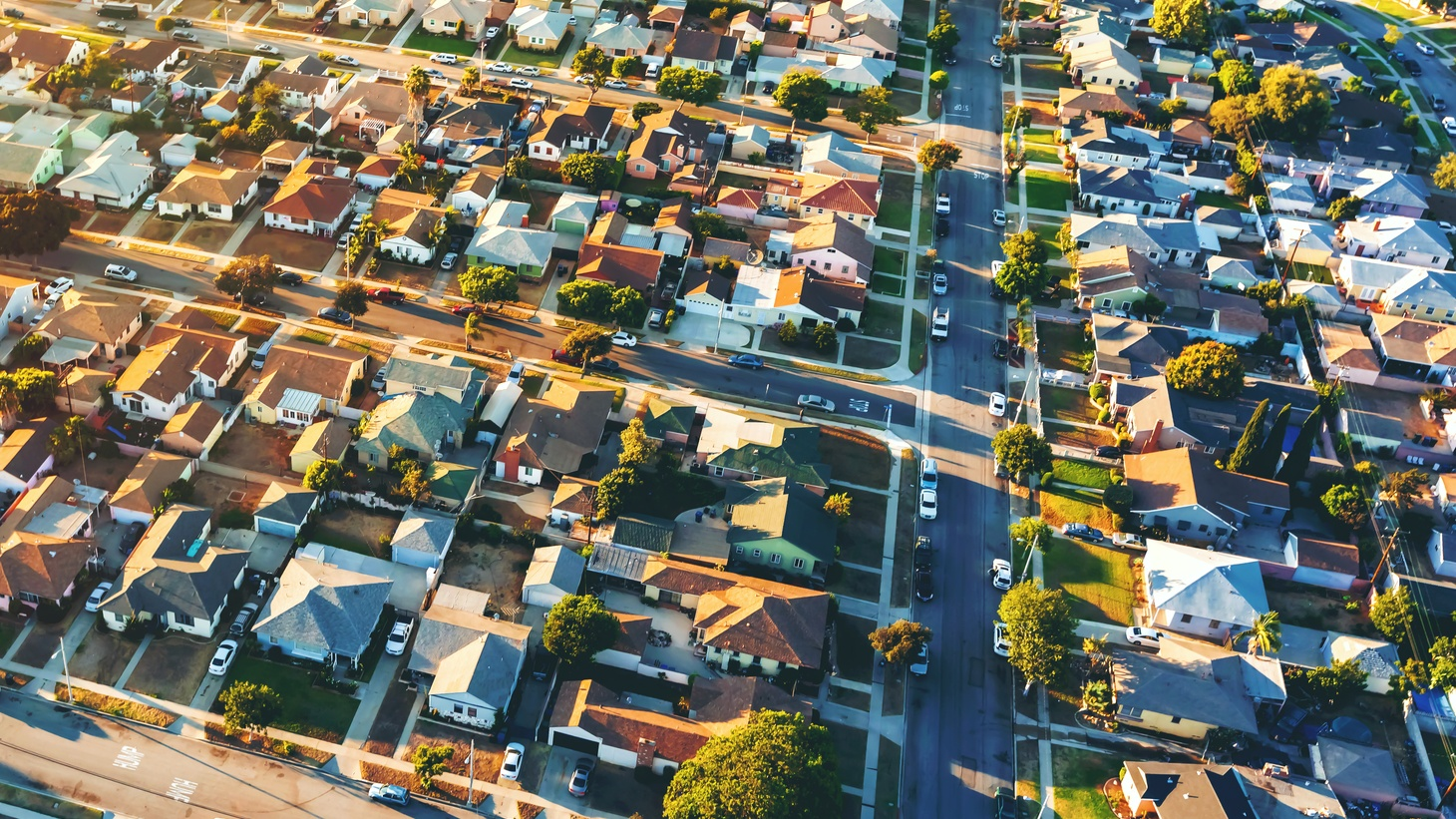 This aerial view shows a residential neighborhood in the Hawthorne neighborhood of Los Angeles, CA.