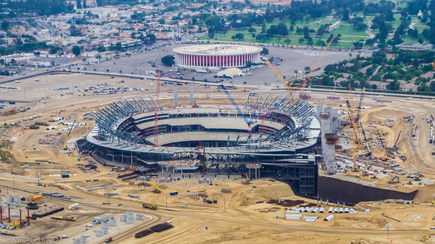 A new stadium under construction in Inglewood. June 2018.