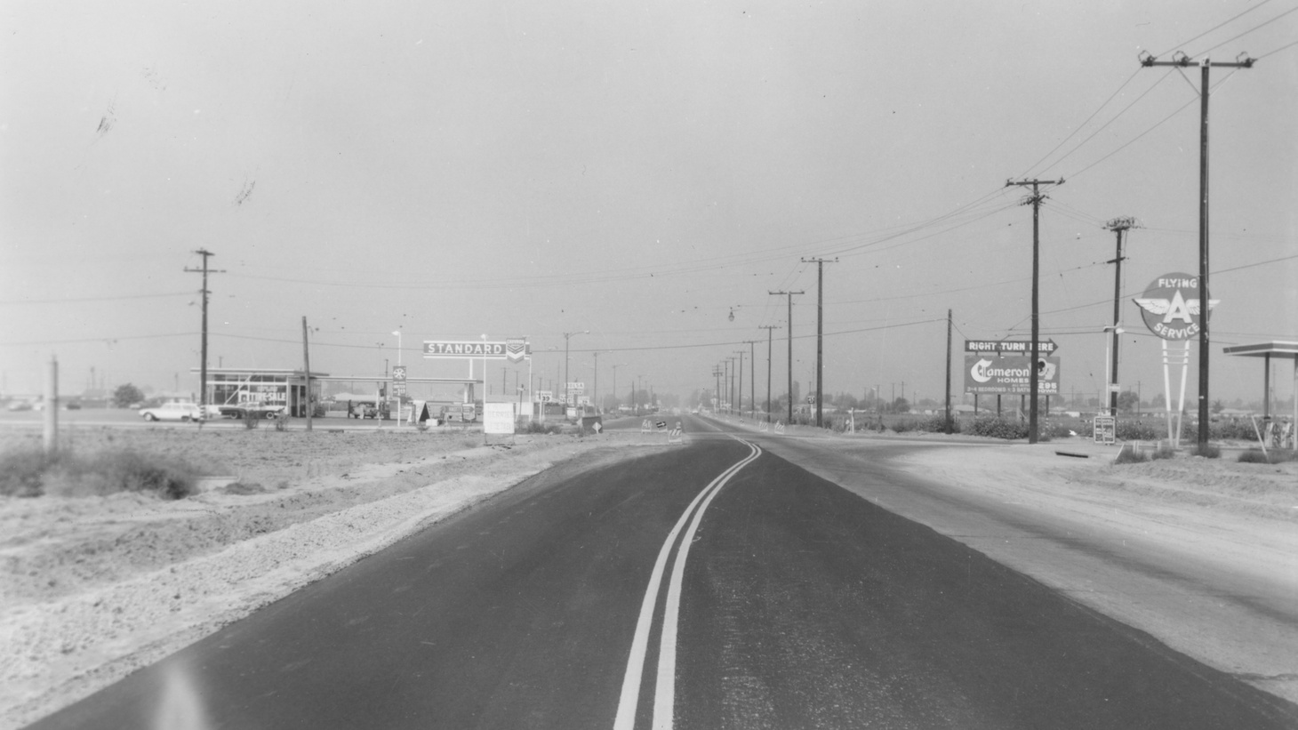 Bolsa Ave. in Westminster, looking west at Magnolia St., Aug 1966.