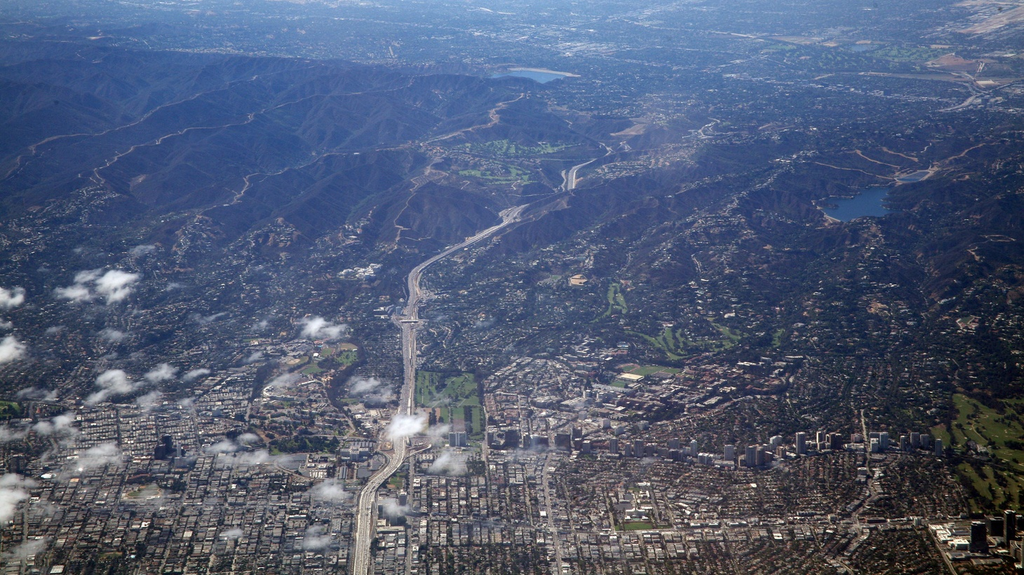 The Sepulveda Pass, and Interstate Highway 405, head north out of the west side of Los Angeles, up to the San Fernando Valley