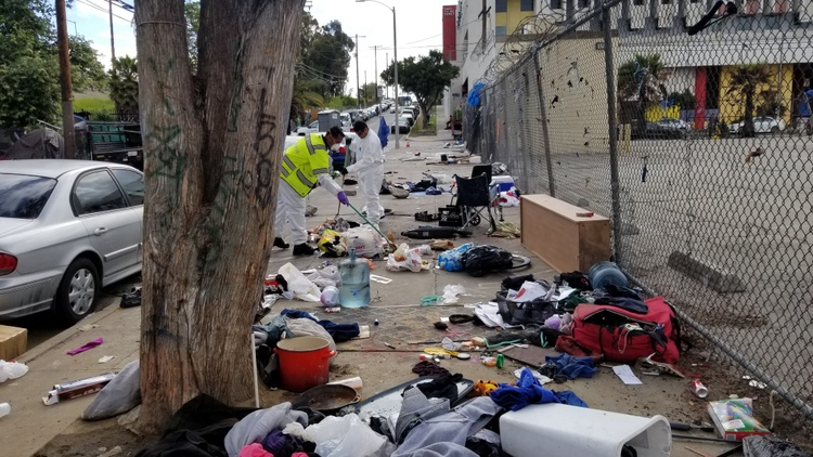 Homeless numbers in LA County are up, again, to almost 60,000. Many homeless people live on the streets with limited access to bathroom facilities and trash pick-up.