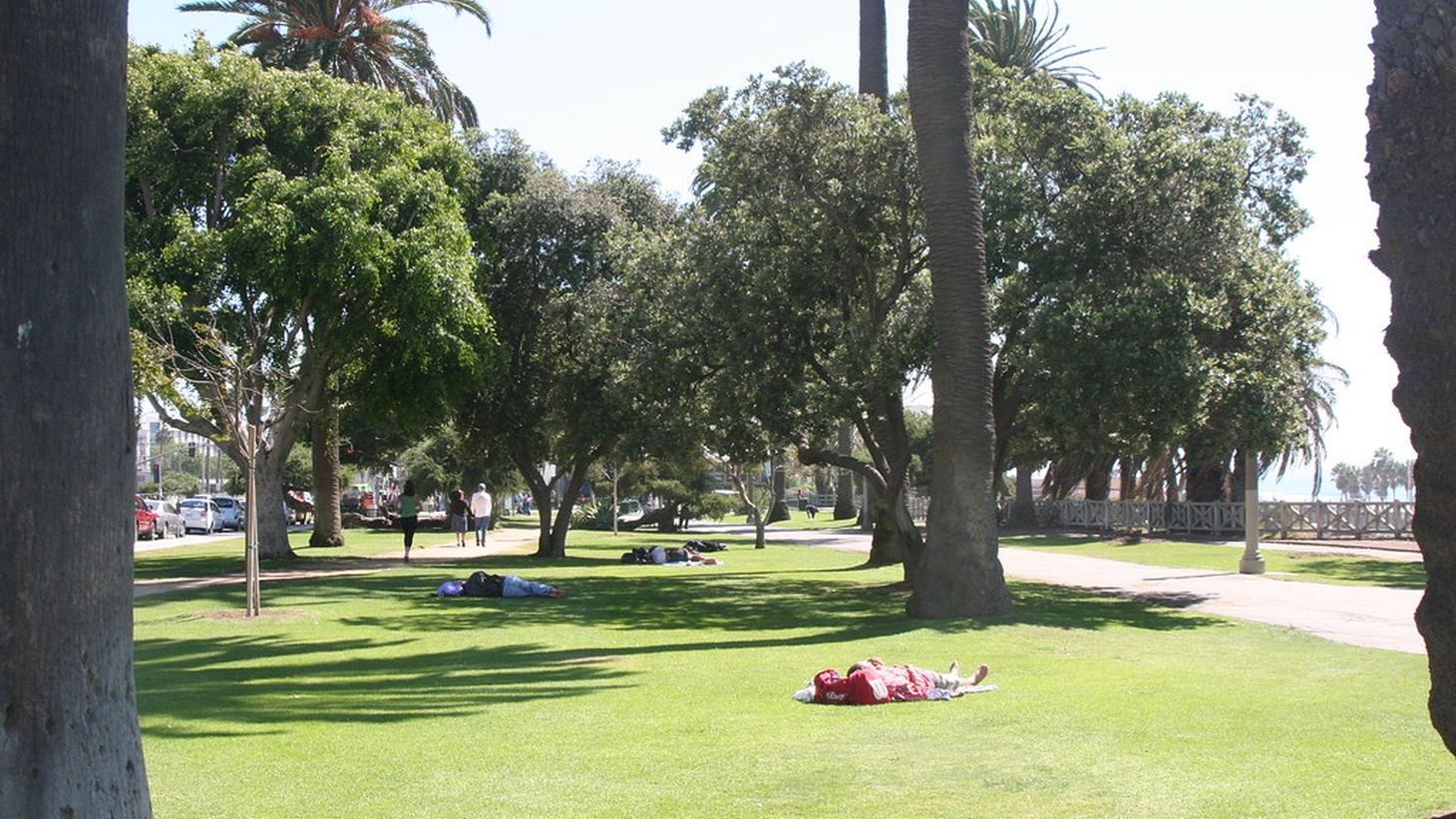 People sleeping in a park in Santa Monica.