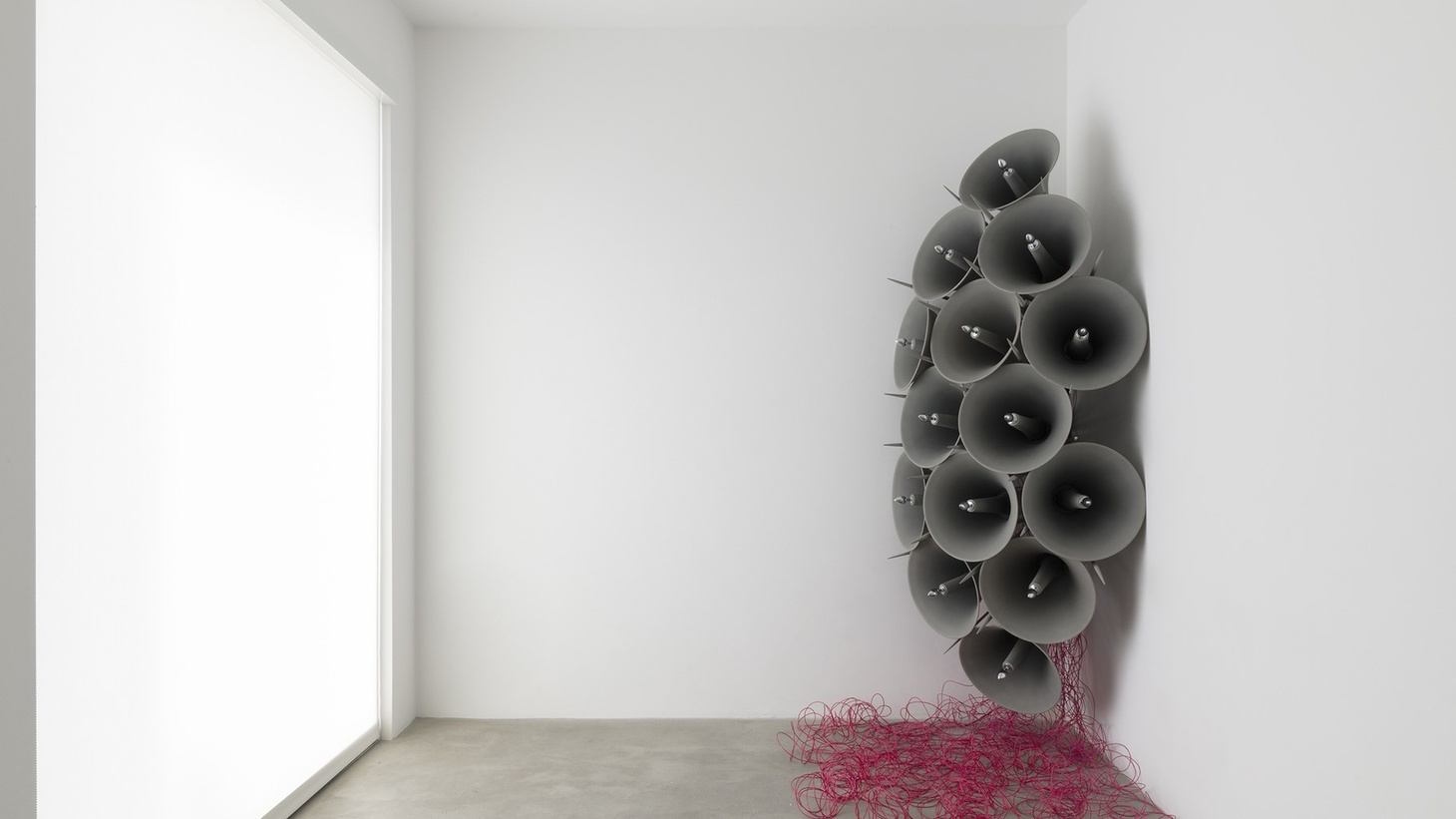 Jónsi, Í blóma (In bloom), 2019. Sixteen-channel sound installation; fourteen PA speakers, electrical wiring, two speakers, metal, wood, acrylic paint, chrome butt plugs, cadaverine scent, Sculpture: 116 x 87 x 44 inches; 294.6 x 221 x 111.8 cm, Installation dimensions variable. Duration: 21 minutes.