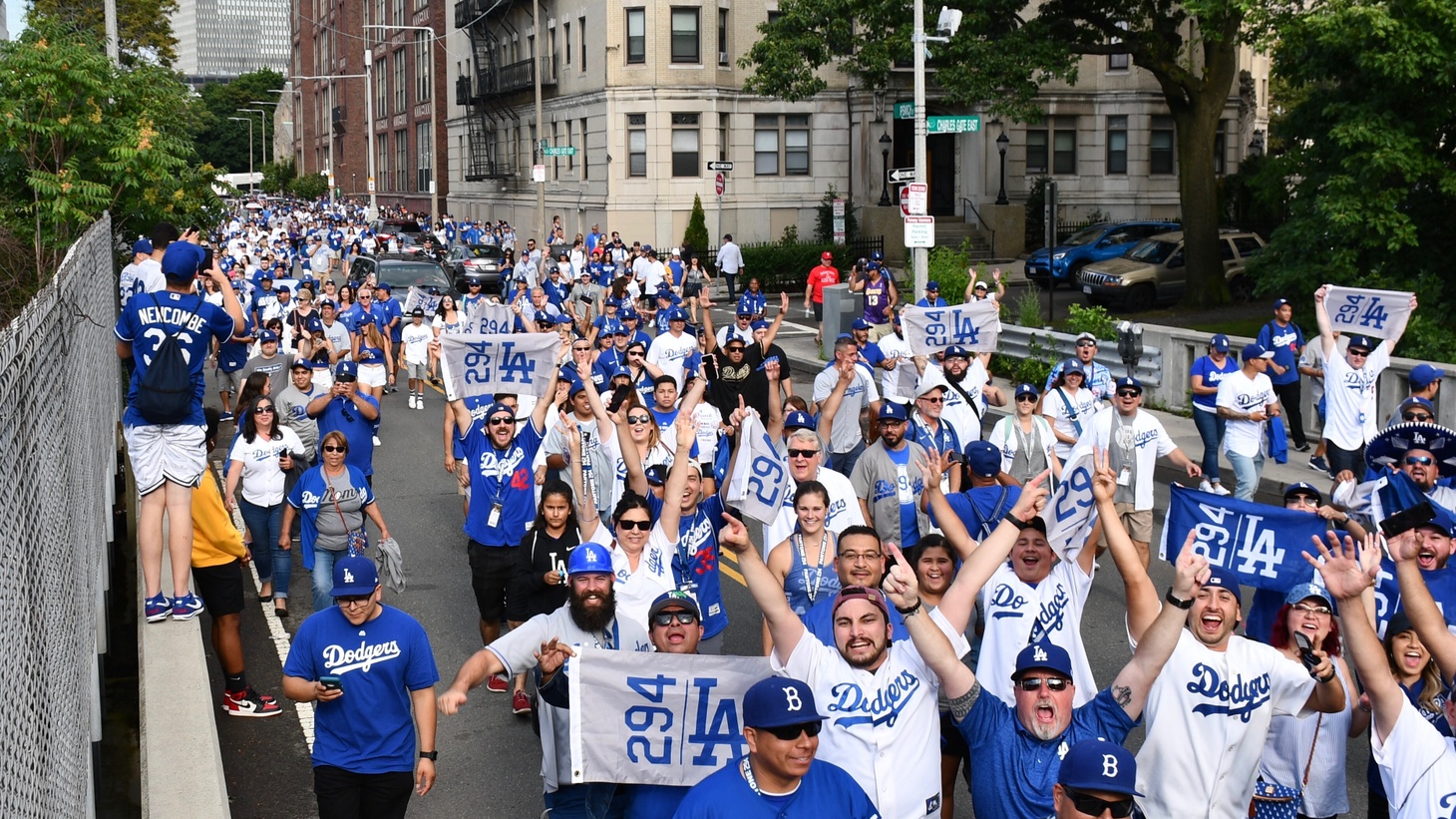 Pantone 294 group marching to the stadium in Washington D.C.
