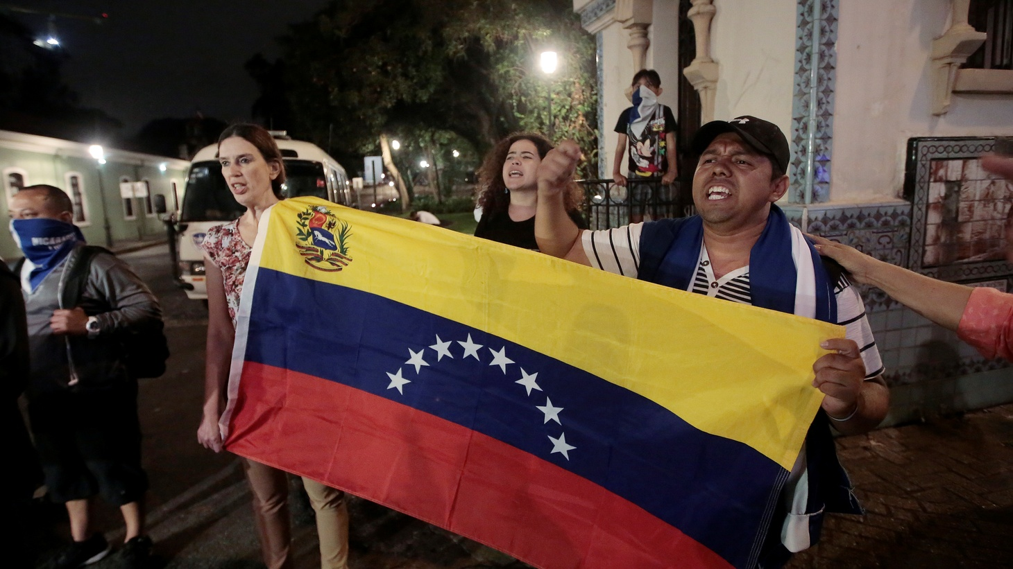 Venezuelans protest in front of the Ministry of Foreign Affairs where there was a meeting of the International Contact Group (IGC) to discuss their support for a political solution to Venezuela's political crisis, in San Jose, Costa Rica May 6, 2019.