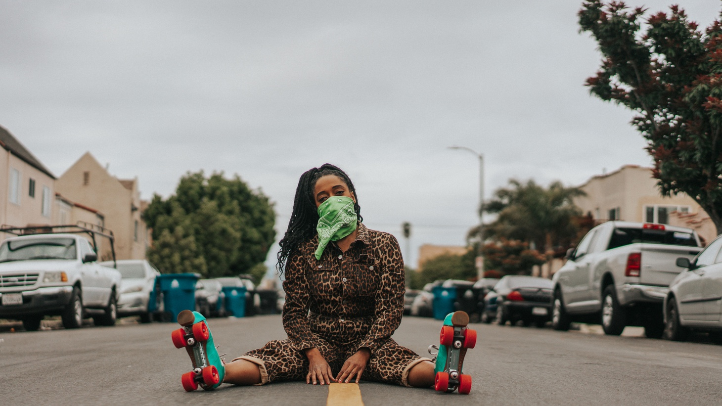 A roller skater wears a face covering during the coronavirus pandemic.