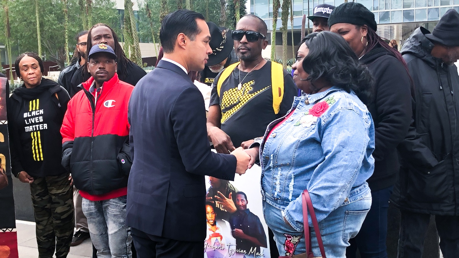 Julian Castro joined Black Lives Matter co-founder Melina Abdullah and others in calling for two LAPD officers to be fired in the police shooting of Grechario Mack, 30.