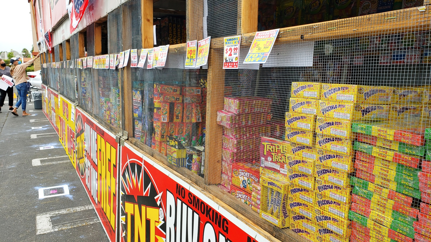 A TNT fireworks stand in Los Angeles is fully stocked, July 1, 2020.