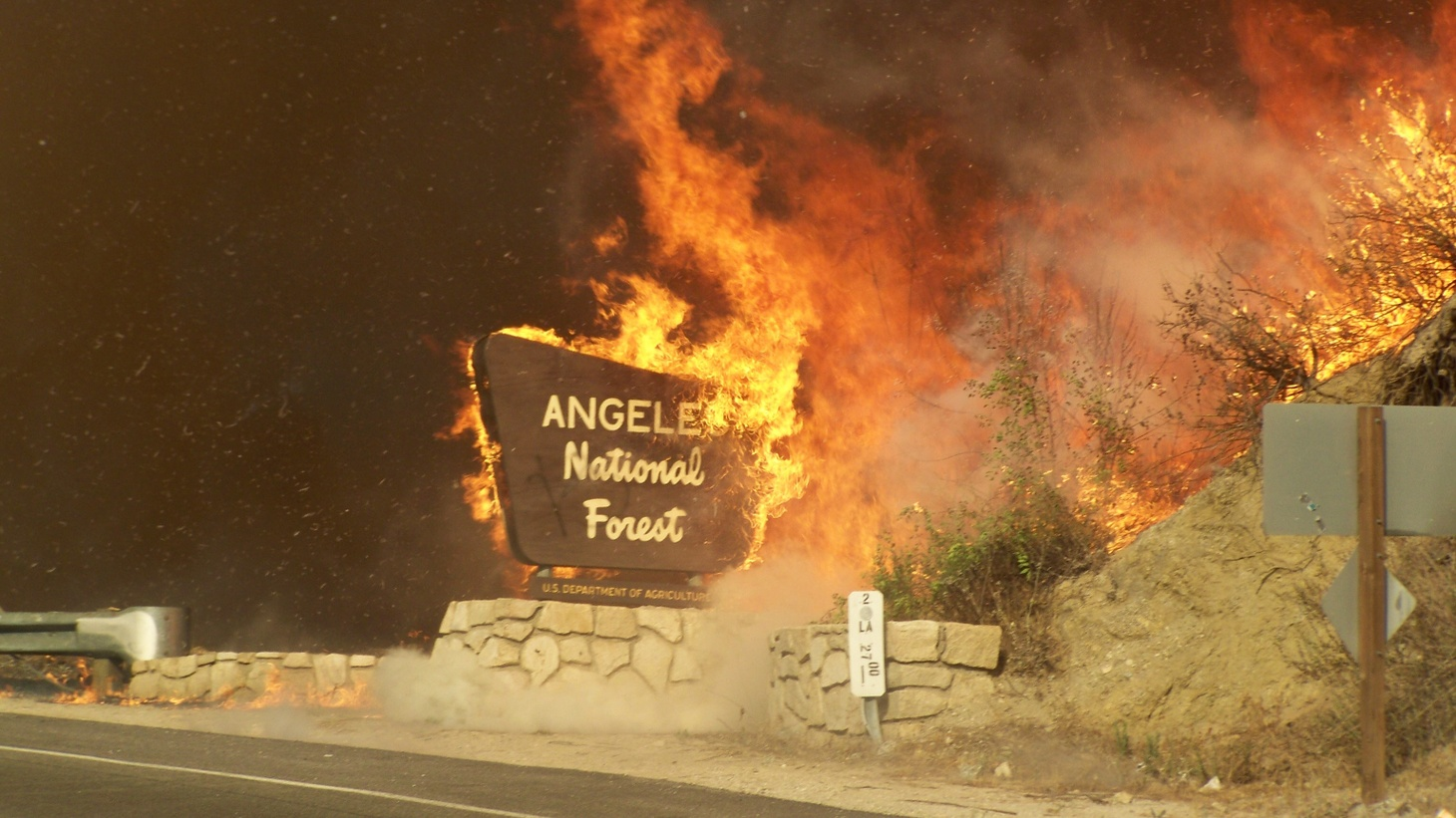 The Station Fire of August 2009 burns Angeles National Forest.