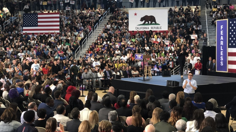 Presidential candidate and US Senator Kamala Harris stopped in Los Angeles on Sunday to speak at Southwest College in South LA.