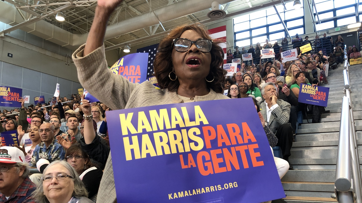 Harris spoke to the diverse crowd Sunday and revealed a plan to close the gender pay gap.