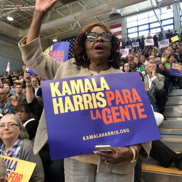Presidential hopeful Kamala Harris was in South Los Angeles on Sunday, speaking to a crowd at Los Angeles Southwest College.
