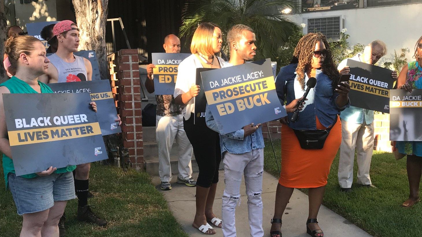 A recent protest outside the apartment of Ed Buck, an LGBTQ activist and Democratic party donor.