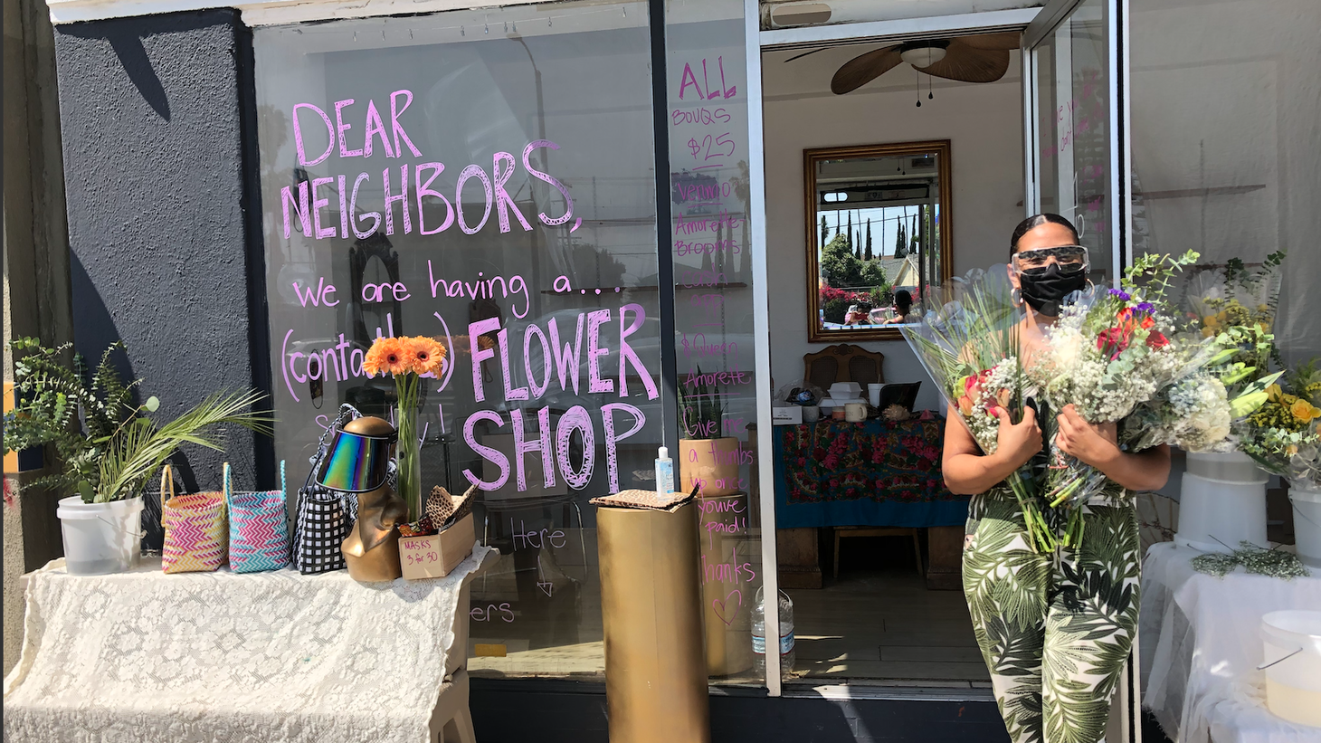 Amorette Brooms turned her boutique clothing store, Queen, into a pop-up flower shop for the Mother's Day weekend.